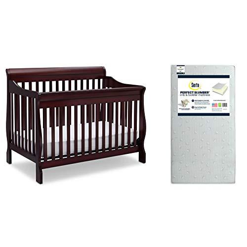 Delta Children Canton 4-in-1 Convertible Crib, Espresso Cherry + Serta Perfect Slumber Dual Sided Recycled Fiber Core Crib and Toddler Mattress (Bundle)