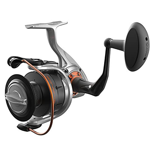 Quantum Reliance Spinning Fishing Reel, Size 55 Reel, Changeable Right- or Left-Hand Retrieve, Anti-Corrosive Bearings, Water-Tight Seal, Saltguard Protection, Silver/Black