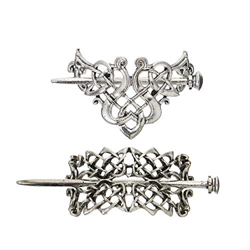 Beaupretty 2pcs Silver Celtic Hair Slide Hairpin Viking Celtic Knot Hairpins Alloy Hair Cuff Bun with Stick Hair Slide Hair Barrette