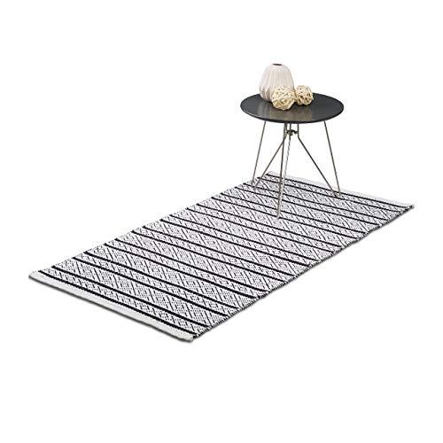 Relaxdays Teppich Läufer Flur 70x140 cm, Baumwolle, Handarbeit, Design Küchenläufer Kurzflor, Fußbodenheizung, schwarz-weiß