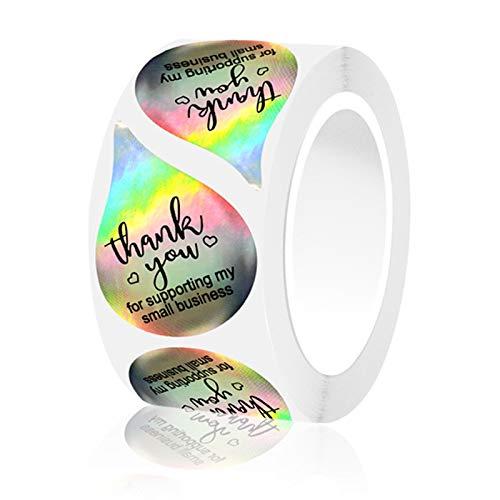 Rotolo di Grazie, 500 Pz Grazie Adesivi Adesivi Olografici a Forma di Goccia D'acqua Etichette per Piccole Imprese Packaging Buste Rivenditori Online Boutique Negozi