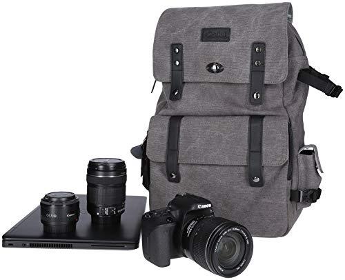 Rollei Vintage Fotorucksack / Everyday Backpack mit 30 l Fassungsvermögen, Kameraschnellzugriffsfach, handgepäcktauglich, für DSLM / DSLR passend, inkl. Regenschutz - grau