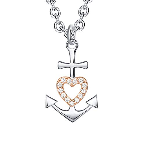 Faith Love Hope White Gold 925 Sterling Silver Cz Navy Rose Gold Cross Heart Anchor Pendant Necklace for Women and Girls, Mother's Day Birthday Christmas Friendship Gifts Jesus Christian Catholic Cruxific Jewelry