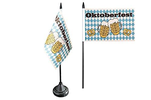 Tischflagge / Tischfahne Oktoberfest Bierkrug und Brezel + gratis Aufkleber, Flaggenfritze®