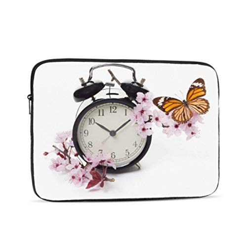 Macbook Pro Shell Case Clock with Blossoms and Butterfly Accessories For Macbook Pro Multi-Color & Size Choices10/12/13/15/17 Inch Computer Tablet Briefcase Carrying Bag