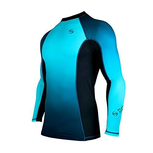 Mens Rash Guard Long Sleeve Surf Shirt Swimsuit - Quick Dry Sun Protection Clothing UPF 50+ (Blue, L)