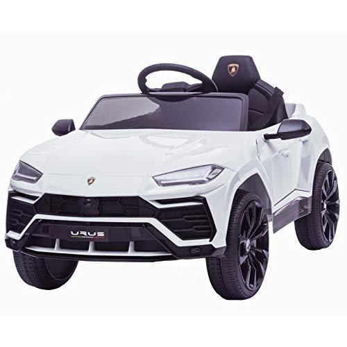 ATAA Coche de batería para niños Lamborghini Urus con batería de 12v y Mando Control Remoto - Blanco