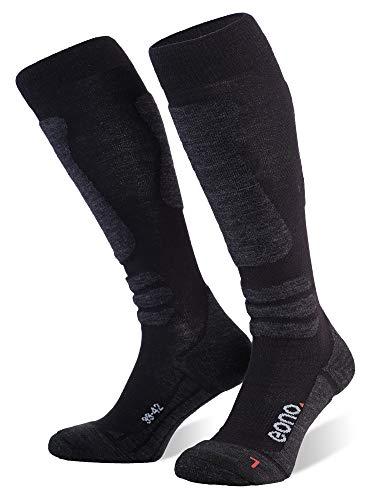 Eono Essentials Ski Socks (Basic o Premium), Schwarz (Base, 2-Pack), UE 43-46, UK 9-11