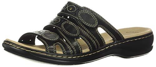Clarks womens Leisa Cacti Slide Sandal, Black Leather, 9.5 Wide US