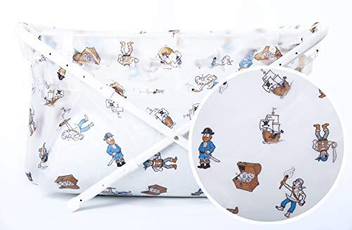 Vasca da bagno pieghevole per bambini - Simpatico cartone animato con stampa pirata 70-90 cm - Vasca da bagno portatile antiscivolo per bambini 1-8 anni - Accessori da bagno per bambini