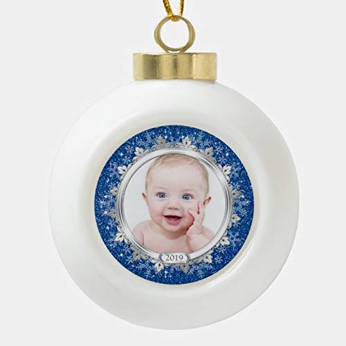 Dom576son Christmas Ball Ornaments, Blue Silver Baby'S First Christmas (Xmas) Photo Ceramic Ball Christmas Ornament, Shatterproof Christmas Decorations Tree Balls for Holiday Wedding Party Decoration