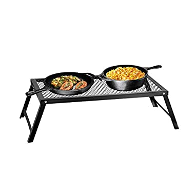 Bruntmor Portable Campfire Grill Stand with Folding Legs, 22 in x 12 in, for Use Over Open Fire (Medium)