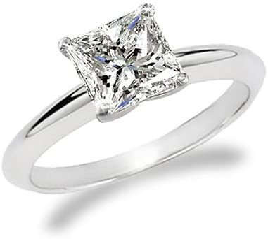 Near 1/2 Carat Princess Cut Diamond Solitaire Engagement Ring 14K White Gold (H-I, SI1-SI2, 0.45 c.t.w) Very Good Cut