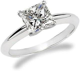 1/2 Carat Princess Cut Diamond Solitaire Engagement Ring 14K White Gold (G-H, I2, 0.5 c.t.w) Very Good Cut
