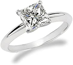 Best princess cut diamond solitaire engagement ring white gold Reviews