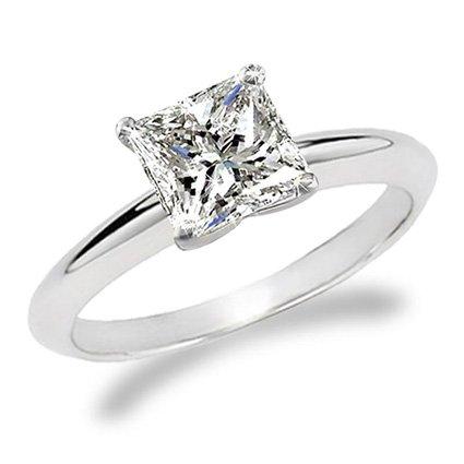 1 Carat Princess Cut Diamond Solitaire Engagement Ring 14K White Gold (K, I2, 1 c.t.w) Very Good Cut