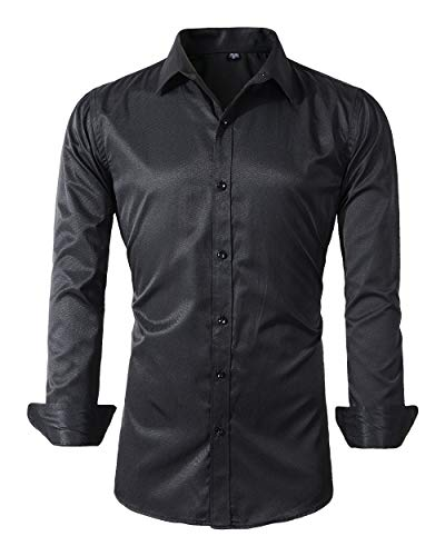 Mens Long Sleeve Slim Fit Dress Shirts (XL, 455Black)