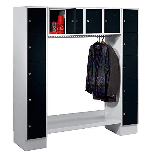 Wolf Garderobenschrank, offen - Gesamt-HxB 1850 x 1800 mm, 14 Fächer - tiefschwarz RAL 9005 - Garderobe Garderoben Garderobenschrank Garderobenschränke Mehrzweckschrank Schrank Schränke Spind Fächerschrank Fächerschränke Garderobensystem Garderobensysteme