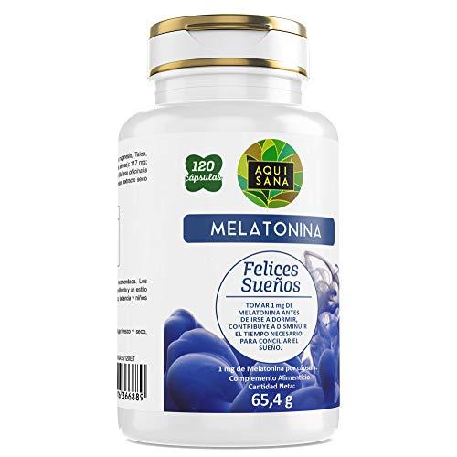 Aquisana Melatonina, Valeriana y Tila , Antioxidante Natural - 120 Cápsulas