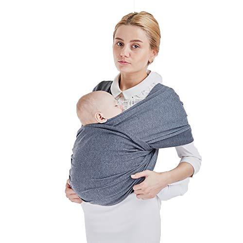 Fular Portabebés Elástico Portador De Bebé Pañuelo De Algodón, Porteo Seguro Y Ergonómico Durante La Lactancia Canguro para Bebés Recién Nacidos Y Niños hasta 15 Kg,Dark Gray