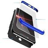 xinyunew Hülle kompatibel mit Xiaomi Mi MAX 2+Panzerglas Schutzfolie,Superleichte Superdünne 3 in 1 PC Schutzhülle Etui Stoßfeste Kratzfeste Handyhülle mit 360 Grad R&umschutz Blau Schwarz