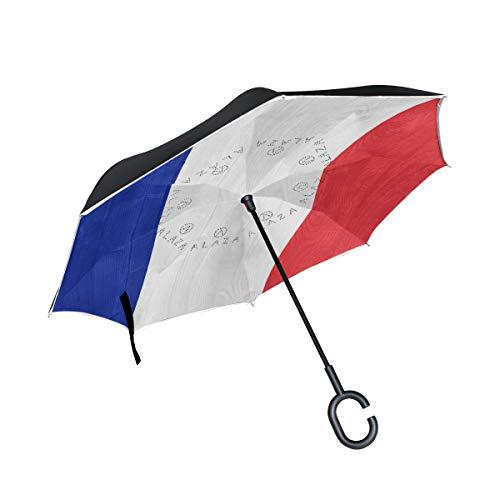 FAJRO Regenschirm, französische Flagge, doppelschichtig, umgekehrter Regenschirm, Winddicht, UV-Schutz, Polyester, Gerader Regenschirm für Auto mit C-förmigem Griff