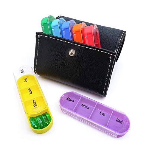 PUTAOYOU Píldora Box PU Bolsa, 7 días 28 Compartimentos Cartera de pastillas de cuero, caja de almacenamiento de pastillas, organizador de medicina desmontable Caja de medicina para vitamínicos Suplem