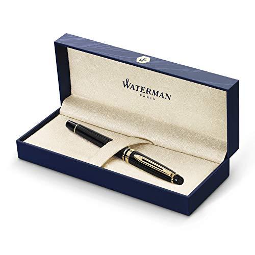 Waterman Expert Stylo Plume, Noir Brillant avec Attributs d or à l or Fin 23k, Plume Moyenne, Coffret Cadeau