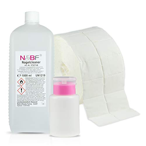N&BF Nagel Cleaner Set 1000ml + Dispenser Pumpflasche + 1000 Zelletten Cellulose Pads (2 Rollen à 500 Stück) - 70% Isopropanol-Alkohol isopropylalkohol 1L – für Gelnägel – Nagelreiniger (Rosa 150)