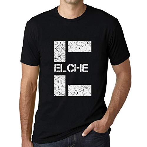 One in the City Hombre Camiseta Vintage T-shirt Gráfico Letter E Countries and Cities ELCHE Negro Profundo