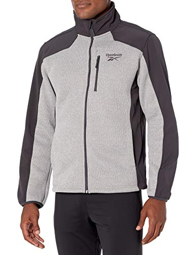 Reebok Men's Textured Jacket w. Soft Woven, Grey HTHR/Charcoal, M