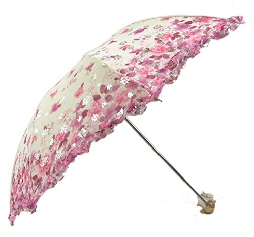 Mini Regenschirm Taschenschirm , kompakter faltbarer Reisen Taschschirm mit UV Schutz 50+ UV-Schutz klein, leicht & kompakt(Rosa))
