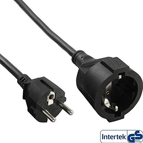 InLine 16407 Strom-Verlängerung Schutzkontakt Stecker / Buchse, schwarz, 7m