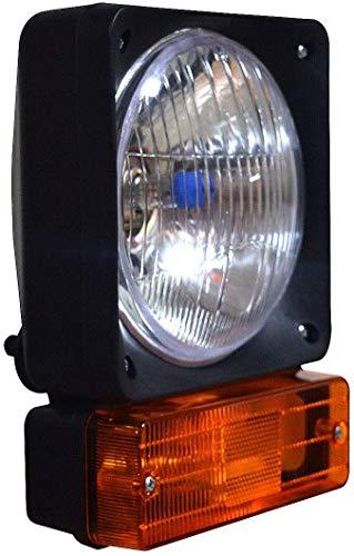 Lámpara de cabeza izquierda con indicador y bombillas de 12 V, apta para cargador telefónico JCB