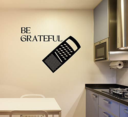 "Rallador de queso para decoración de pared de cocina con texto en inglés ""Be Grateful"", divertido vinilo para decoración del hogar, regalos de chef de 24 pulgadas"
