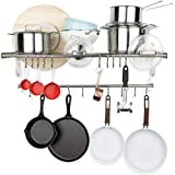 Wallniture Lyon Hanging Pot Rack Wall Mounted Shelf with Pot Lid Organizer Rail and 20 Hooks - Heavy Duty Pot Hangers for Kitchen Cookware Utensils Storage, Stainless Steel - Chrome