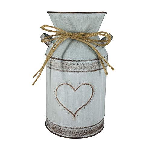 Vase à Fleurs Vintage avec Un Design Unique de Coeur et de Corde Décoration Minable Pichet à Lait de Style Français Vase de Maison de Campagne Pot de Fleur pour la Maison, Jardin, Hôtel (Style A)