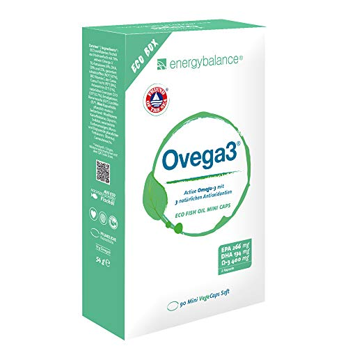 EnergyBalance Ovega3 - Omega3 Fischölkapseln - Astaxanthin, Vitamin C, Q10, Antioxidantien - Glutenfrei, ohne Gelatine, schadstofffrei - 90 Mini VegeCaps