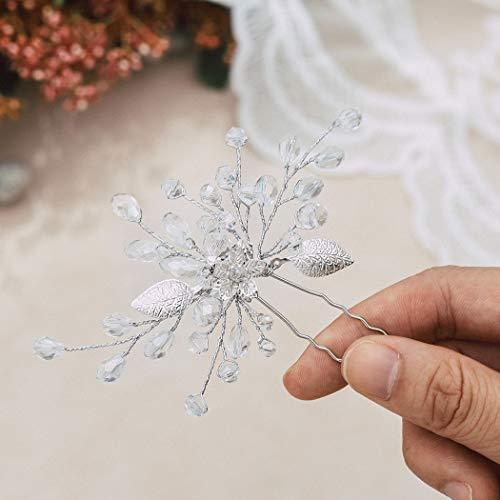 Handcess Kristall Braut Hochzeit Haarnadel Silber Blume Braut Haarschmuck Strass Blätter Haarteile für Braut und Bräute