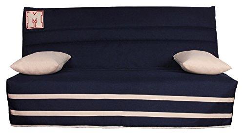 CANAPES TISSUS Minneapolis Banquette Canapé-Lit, Polyester, Bleu, 190 x 95 x 98 cm