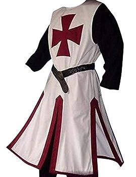 Enjoybuy Mens Medieval Crusader Knights Templar Tunic Costumes Renaissance Halloween Surcoat Warrior Black Plague Cloak Cosplay Top L-burgundy Medium