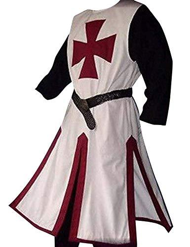 Fueri Herren Mittelalter Ritter Kostüm Kreuzritter Wikinger Tunika Tempel Fasching Karneval LARP Cospaly Waffenrock, Weinrot-Weiß, XXL