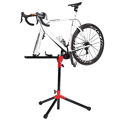 Rails Aleación de Aluminio Soporte Reparacion Bicicleta,Soporte Bicicletas Suelo Estatica Ajustable, Ligero, Portátil Bicicleta Soporte Suelo para Bicicleta De Carretera Y Bicicleta De Montaje