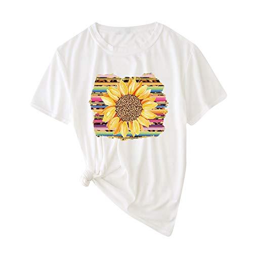 ZouYiL - Camiseta de manga corta para mujer, cuello redondo, estampado vintage, camiseta de verano K-blanco M