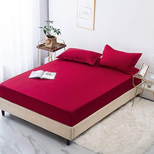 haiba Sábana bajera o fundas de almohada de franela de algodón cepillado, térmica, suave y acogedora, sábana bajera ajustable de 100 x 200 + 28 cm