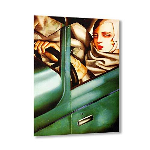 Mio Ritratto (autoritratto nella Bugatti Verde) Tamara De Lempicka Quadro su Tela 100x80 Cm - Lmt17