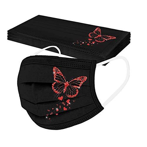 Lulupi 10 Stück Damen Einweg Mundschutz mit Motiv Schmetterling Mund und Nasenschutz Schwarz Einmal Mundschutz Halstuch Bandana Maske