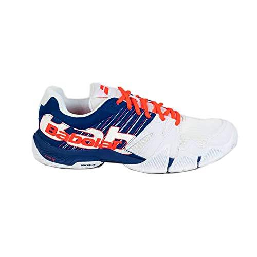 BABOLAT PULSA Men, Chaussures de Tennis Homme, White/Dazzling Blue, 44 EU