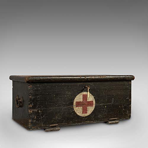 Vintage Erste-Hilfe-Truhe, Englisch, Kiefer, Kofferraum, Huddersfield-Gewehre, Regiment