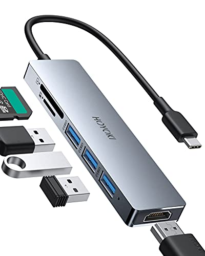 HOYOKI USB C Hub Adapter, 6 in 1 Type C Hub, Aluminum Alloy USB C Adapter with 4K HDMI, USB 3.0 Data Ports 5Gbps, SD TF Slots Compatible for MacBook Pro Air, Dell XPS, Chromebook, Samsung and More